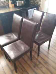 4 faux leather chairs