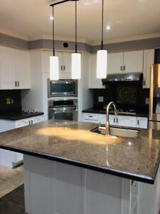 Hardwood kitchen cabinet and granite countertop for sale