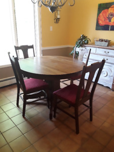 Antique Dining Table and Chairs plus Sideboard Set