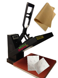 "15 X 15"" Heat Press with heat transfer paper start kit new!"