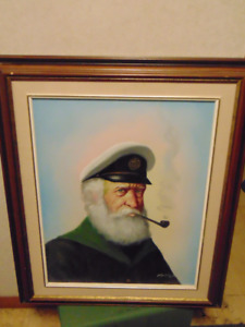 SAILOR CAPTAIN LARGE PAINTING 18 BY 24 SIGNED PELBAM
