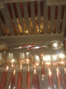Vintage Rosewood and Brass Cutlery Set