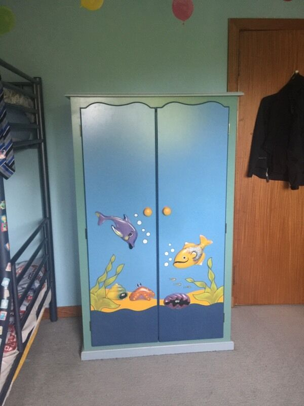 Childrens Furniture Setin Milngavie, GlasgowGumtree - Wardrobe and chest of drawers in excellent condition, childrens toy box has scuff marks around the edges and general ware. Bedside cabinet with one or two light scratches. Wardrobe dimensions 155cm H 95cm W 56cm D Chest of drawers dimensions 90cm H...