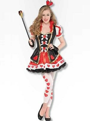 10-16yrs Teen Queen Of Hearts Fancy Dress Costume Alice Book Week Kids Girls