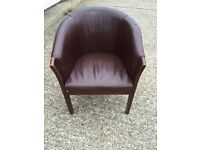 Leather tub chairs oak framed good quality
