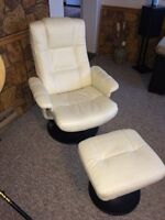 Reclining leather armchair and footstool