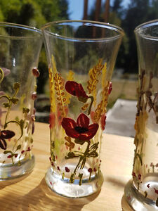 60 year old GLOWING ANTIQUE HANDPAINTED GLASSES...... Vancouver Greater Vancouver Area image 1