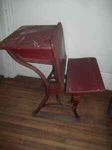 Old School Desk With Bench