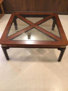 Glass/Wood 38 inch Square Cocktail Table in Excellent Condition