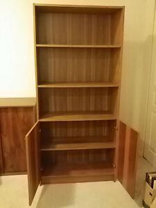 Bookshelf with Wooden Cabinet Doors