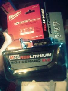 9.0 Milwakke Red lithium M18 high demand battery