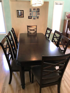 Solid Wood Formal Dining Room Table With 8 Chairs