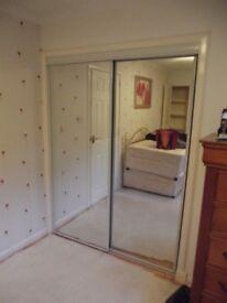 Pair of sliding wardrobe doors Framing Timber and internal shelving components