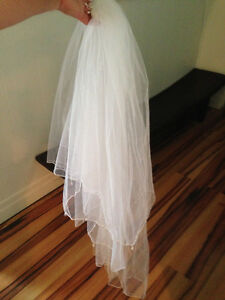 Wedding Veil, Sheer gauze with opal like sparkly beads