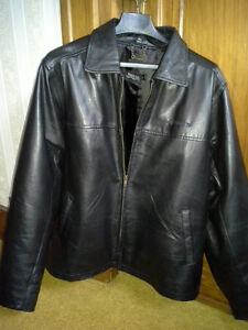 BLACK GENUINE LEATHER JACKET, INSULATED