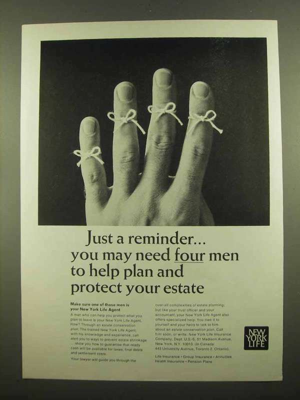 1965 New York Life Ad - You May Need Four Men