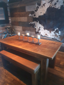 Solid table and church style benches