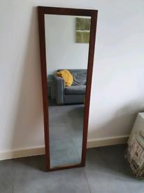 Long full length brown wood mirror