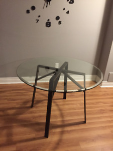 New Crate & Barrel Round Dining Table with 42 Glass Top