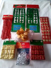 89 Xmas Decs mostly new! see pics Garlands/Tinsel/Baubles/Bells/Beads!