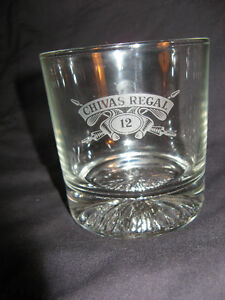(2) Chivas Regal 12 Whiskey Etched Glass - On The Rocks Glasses