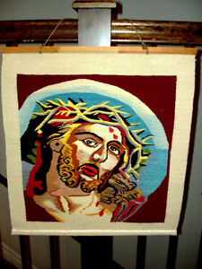CROWN of THORNS Jesus HAND LOOM WOVEN TEXTILE wall hanging