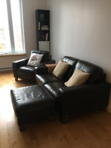 Ensemble fauteuil sofa pouf cuir brun Natuzzi haute qualité
