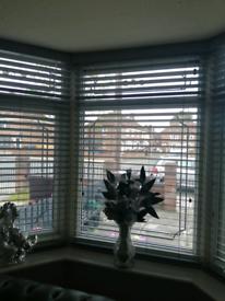Full set of grey wooden blinds for front
