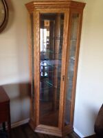 Solid Oak corner display cabinet