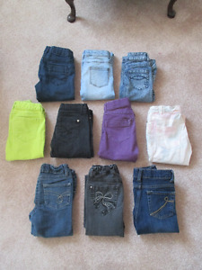 Ten pair of girls size 8 jeans