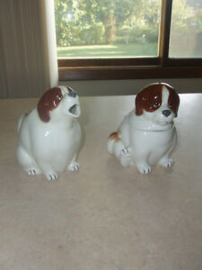 ~ RARE VINTAGE QUON ~QUON ST. BERNARD ~ CREAM AND SUGAR DISHES ~