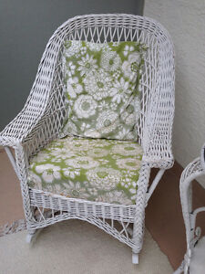 Vintage White Wicker ROCKERS and TEA TABLE