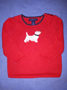 Lands End Holiday Theme Scottie Dog Cotton Sweater 2T EUC