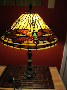 Antique tiffany style stained glass table lamp.