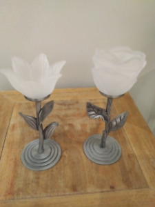 Beautiful Pewter Flower Candlesticks