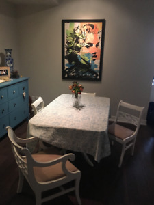 Vintage solid wood white dining table with 4 chairs. Circa 1940