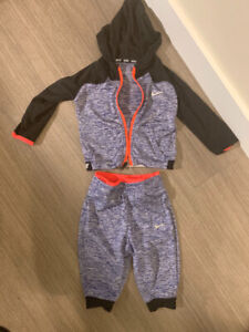 Baby 12 Month Nike Dri-Fit Heather Blue and Neon Orange/Red