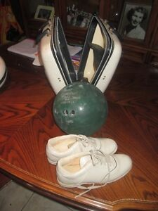 Bowling ball, shoes and case