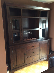 Dining table(leaf), 6 chairs and china cabinet