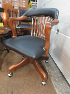 antique vintage swivel office chair restored new leather