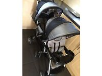 Tandem double buggy pushchair