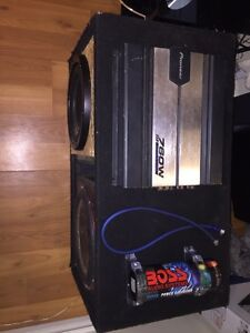"""10 and 12"""" sub in a ported box with amp and capacitor"""