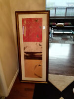 Large rectangular painting in glass frame 2ft x 4ft