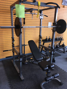 Power Cage w/ Olympic cast iron weight, bench & Lat Tower