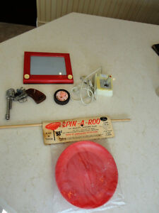 5 Vintage Toys -Spin A Roo, Etch A Sketch, Pow R Puck, Pistol ++ Kitchener / Waterloo Kitchener Area image 1