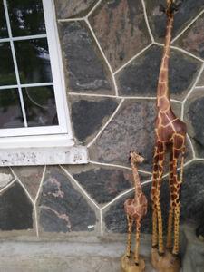 2 girafes giraffes en bois in wood