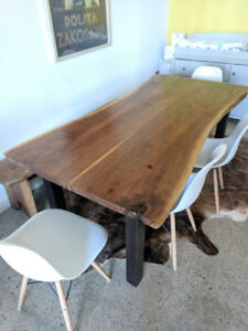 Custom Solid Wood Dining Room Table + bench + 4 Chairs