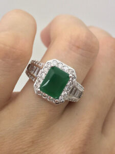 Elegant 2.24 cts Princess Colombian Emerald Ring.