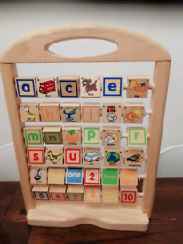 Wooden Alphabet and number toy and wooden puzzle