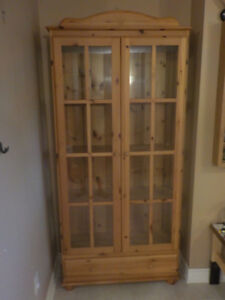 IKEA TALL CABINET WITH GLASS DOORS